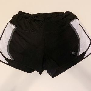 Athleta Running Shorts Black White Gray